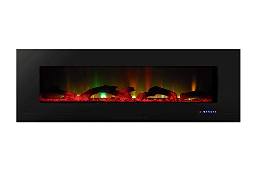 "Touchstone ValueLine 60"" 10-Color, in-Wall Recessed, Electric Fireplace, 60 Inch Wide, Logset & Crystal, 1200W Heat (Black) from Touchstone"