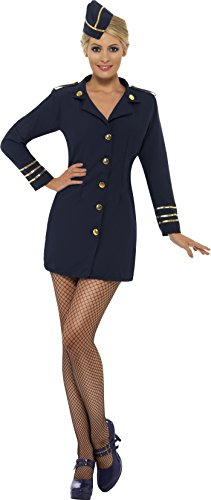 Smiffy's Women's Flight Attendant Costume, Dress and Hat, Icons and Idols, Serious Fun, Size 6-8, 28879
