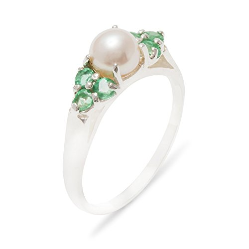 925 Sterling Silver Cultured Pearl & Emerald Womens Cluster Anniversary Ring - 10 - Size 10