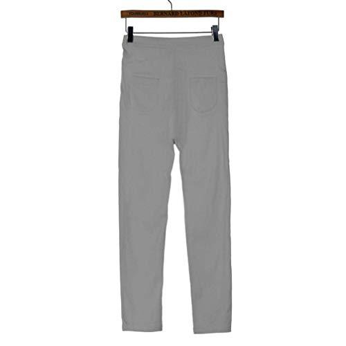 Alta Algodón Ocasionales Mezclilla Ropa Cintura La Moda De Grau Dril Color Vaqueros Los Sólido Señoras Lápiz Hombres Del Pantalones w7OFBw0