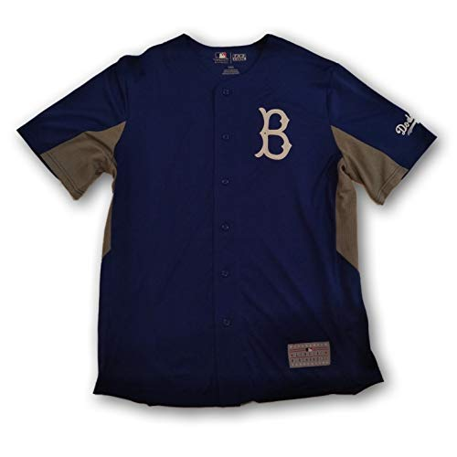 Genuine Merchandise Brooklyn Dodgers Jackie Robinson Button Down Baseball Jersey #42 Dry fit Polyester (Merchandise Jersey Genuine)