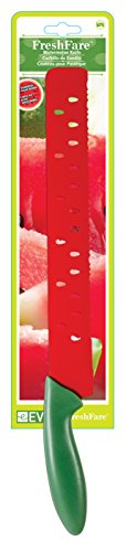 Evriholder Scalloped Watermelon Knife, Stainless Steel Blade, 17-Inch 2 Long, scalloped blade quickly and easily slices up delicious watermelon wedges; decorative seed-shaped cut-outs on the blade keep foods from sticking Perfect for slicing cantaloupe, honeydew, and watermelon, or bread, rolls and sandwiches Ergonomic handle allows better leverage for slicing through thick melon rinds; includes coordinating blade cover for safe storage