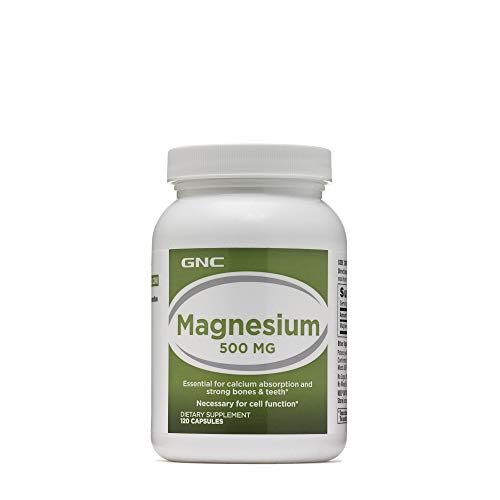 - GNC Magnesium 500mg, 120 Capsules, Supports Calcium Absorption and Strong Bones and Teeth