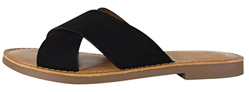 Cambridge Select Women's Open Toe Crisscross Strap Slip-On Flat Slide Sandal (8 B(M) US, Black IMSU)