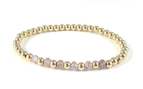 Rebecca Cherry Firenze Women's Gold Plated Strawberry Quartz Stretch Beaded Bracelet 7