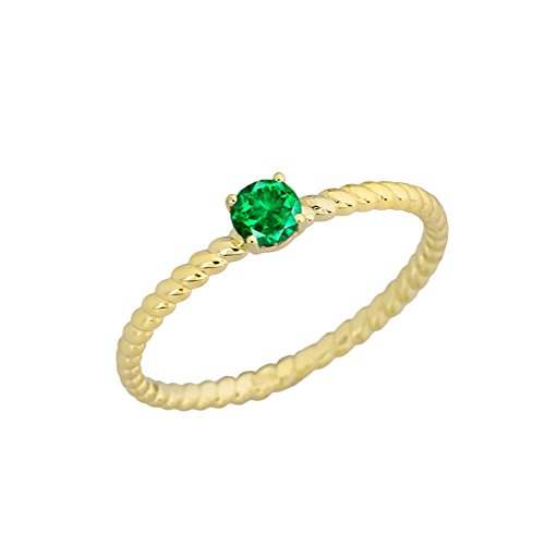 Dainty 10k Yellow Gold Stackable Emerald Solitaire Rope Engagement/Promise Ring (Size 8.75)