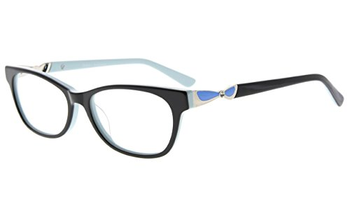 Eyekepper Rx-able Acetate Eyeglasses For Small Face Women, Ladies' Glasses Frame, Black - Eyeglasses Faces Narrow For