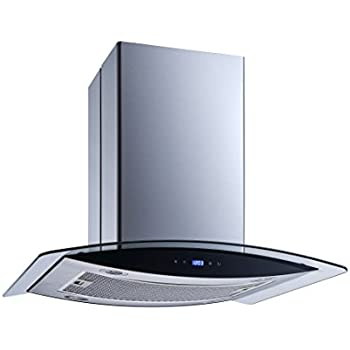 Winflo 36 Island Stainless Steel//Arched Tempered Glass Convertible Kitchen Range Hood with 520 CFM Air Flow LED Display Touch Control Included Dishwasher-Safe Aluminum Filter and 4x2W LED Lights