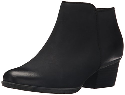 Heels Waterproof Leather (Blondo Women's Villa Waterproof Ankle Bootie, Black Leather, 8.5 M US)