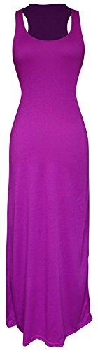 Peach Couture Racerback Summer Maxi Dress Striped Solid Sundress Purple M ()