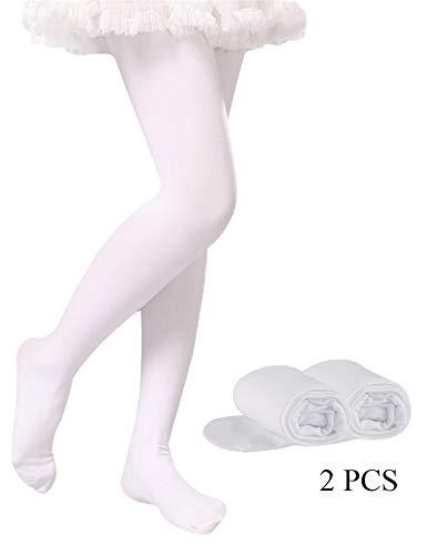 Tights for Girls Toddler Ballet Dance Leggings Pants Girls Microfiber Stockings Pantyhose (White-2 Tights, L 7-10Years Height: 115-140 cm/45.5-55 inch) (White Velvet Stocking)