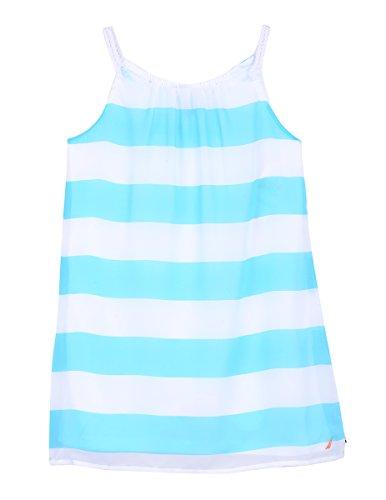 Girls Seersucker Dress - Nautica Toddler Girls' Spaghetti Strap Fashion Dress, Aqua Stripe, 4T
