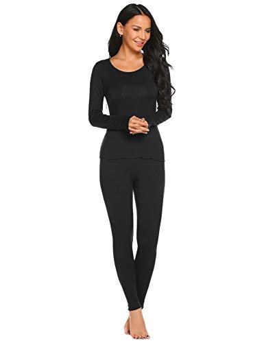 (Ekouaer Womens Soft Thermal Underwear 2Pcs Top&Bottom Long Johns Set with Fleece Lined,Black,Medium)