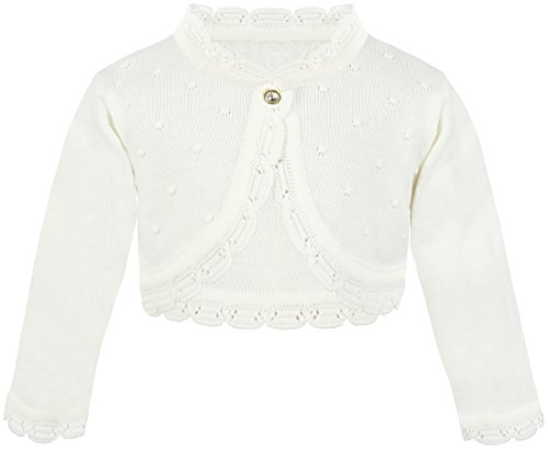 Lilax Baby Girls' Knit Long Sleeve Bolero Cardigan Shrug 6-9 Months Cream by Lilax