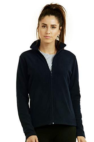 (ET TU Women's Zip Up Polar Fleece Jacket (M, Navy))