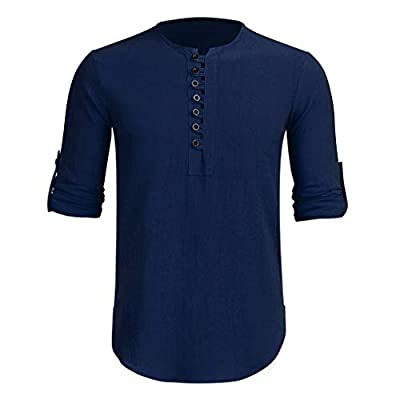 HDGTSA Men's Baggy Henley Shirts Cotton Linen Solid T Shirts Long Sleeve Retro Tops Blouse at  Men's Clothing store