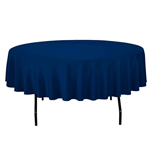 Craft and Party - 10 pcs Round Tablecloth for Home, Party, Wedding or Restaurant Use. (Navy Blue, 90 Round)