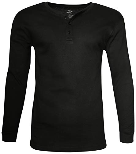 - Beverly Hills Polo Club Men's Long Sleeve Thermal Henley Shirt, Black, Medium'