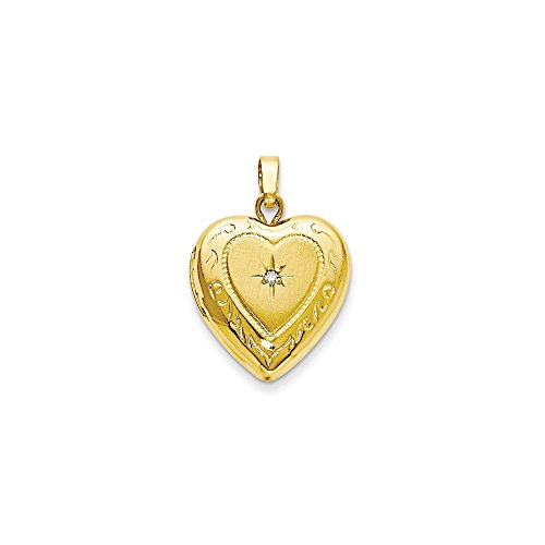14kt Yellow Gold 13mm Heart Locket Pendant Charm Necklace Fashion Jewelry Gifts For Women For Her