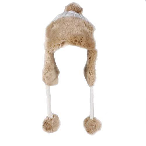 (EFINNY Women Hats Autumn and Winter Warm Women Weave Peruvian Beanie Hat Winter Ski Cap and Ear Flaps)