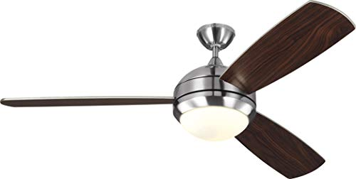 Monte Carlo 3DIR58BSD-V1 Protruding Mount, 3 Silver Blades Ceiling fan with 38 watts light, Brushed Steel ()
