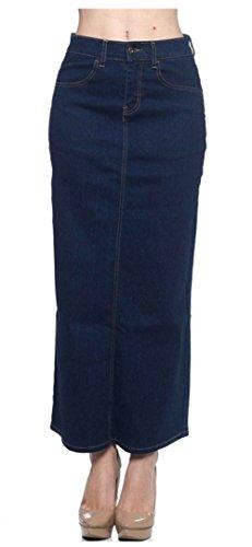 Tabeez Women's Regular & Plus Size Classic Stretch Denim Long Skirt (Extra Small, Indigo- Stretch Solid No Slit)