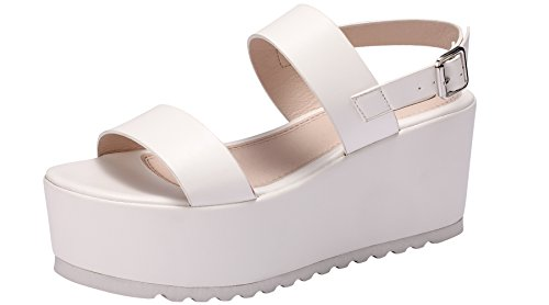 Sofree Women's Platform Open Toe Ankle Strap Heeled Wedge Platform Sandal (7, White) (Platform White Black And)
