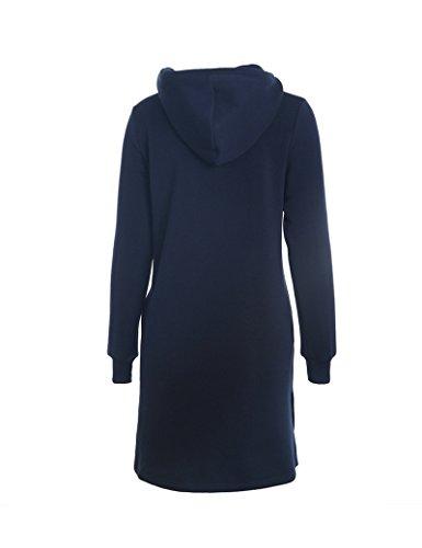 Largo lazo sólido moda-sudaderas de la mujer Blue 3XL