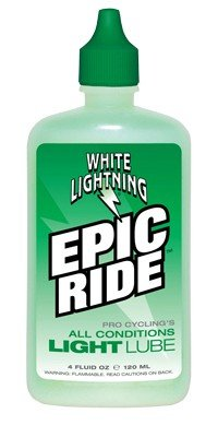 White Lightning Epic Ride All Conditions Light Bicycle Chain Lube, 8-Ounce Drip Squeeze Bottle