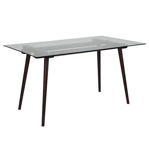 "Flash Furniture Meriden 31.5"" x 55"" Solid Espresso Wood Table with Clear Glass Top"