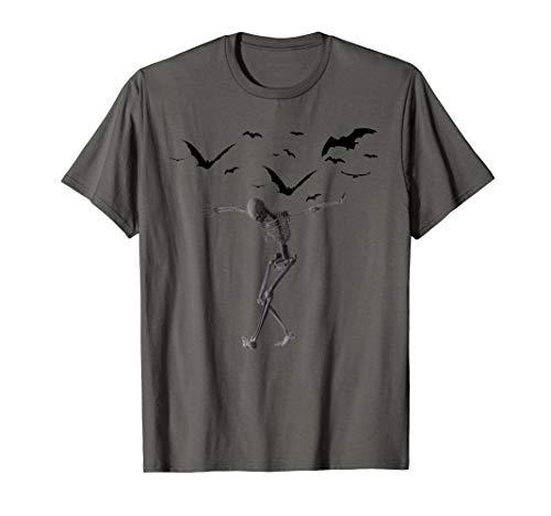 Dancing Skeleton Halloween T-Shirt Bats and Skeleton