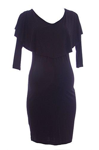 Olian Maternity Women's Nursing Layered Top 3/4 Sleeve Dress X-Small Black