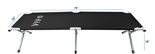 VIVO Cot, Black Fold up Bed, Folding, Portable for Camping, Military Style w/Bag (COT-V01B)