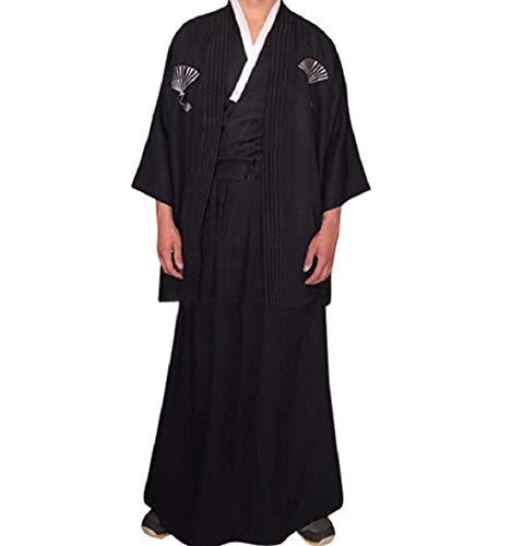Samurai Hakama Costumes - Men 3pcs Japanese Traditional Samurai Hakama
