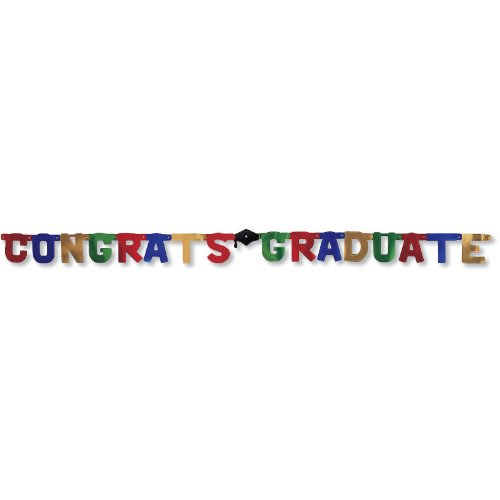 Creative Converting Paper Art Large Letters Jointed Banner, Congrats Graduate by Creative Converting