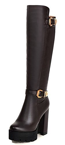 Womens Platform Brown IDIFU Side Heel Buckle High Comfy High Up Riding Knee Boots Zip Chunky dq66wt