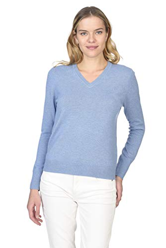 State Cashmere Essential V-Neck Sweater 100% Pure Cashmere Long Sleeve Pullover for Women (Baby Blue, Large)