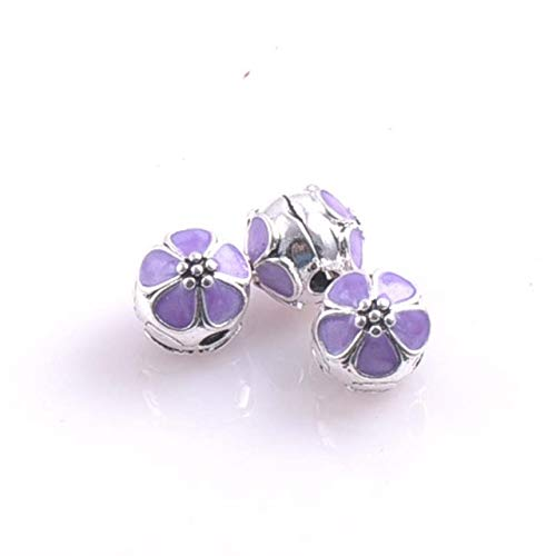 Pukido 2018 New Clips Locks Silver Bead European Cherry Blossoms Stopper Flower Bead Charm Fit Bracelets & Bangles DK-052 - (Color: Purple)