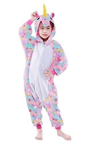 Children Unicorn Fleece Pajamas Unisex Cartoon Costume (Pegasus Horse Multicolor,105)