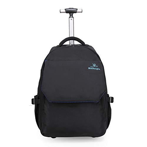 Makimoo 19 inches Wheeled Rolling Backpack Laptop Travel Waterproof School Bag for Women Men - Black ()