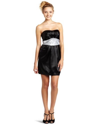 cache black satin dress - 4
