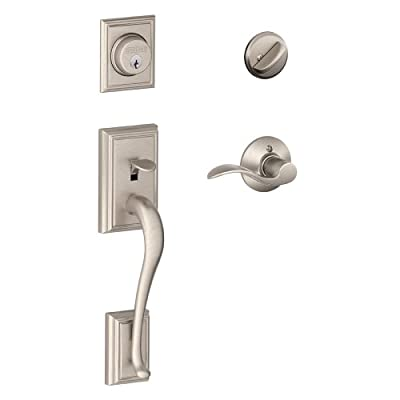 Schlage Addison Single Cylinder Handleset and Accent Lever, Satin Nickel (F60 V ADD 619 ACC)