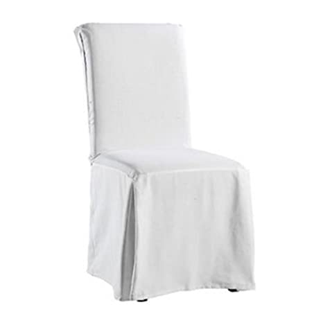 Sure Fit Twill Supreme Full Length Dining Room Chair Cover White Amazoncouk Kitchen Home