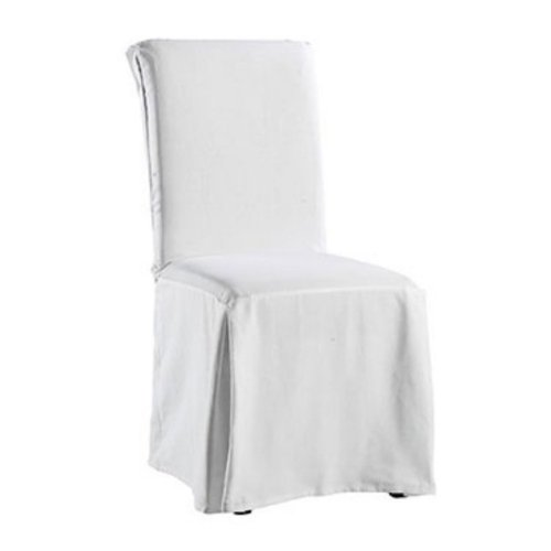 Marvelous Surefit Twill Supreme Full Length Dining Room Chair Cover White Inzonedesignstudio Interior Chair Design Inzonedesignstudiocom