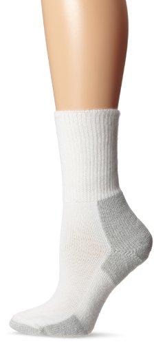 Thorlos Unisex Thick Padded Running Socks, Crew, White/Platnium, Medium (Women's Shoe Size 6.5-10, Men's Shoe Size 5.5 - 8.5)