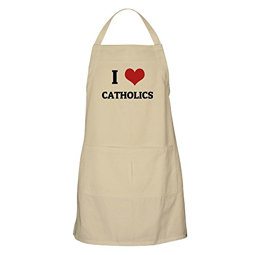 CafePress - I Love Catholics BBQ Apron - Kitchen Apron with Pockets, Grilling Apron, Baking Apron by CafePress