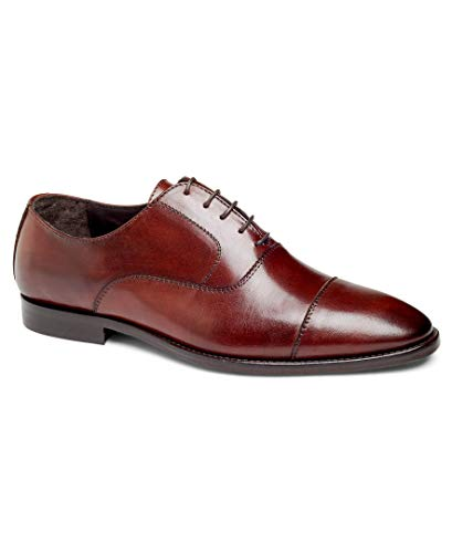 Blake Oxford - Anthony Veer Depp Men's Cap-Toe Oxford Lace-up Dress Shoes in Premium Italian Leather Blake Stitched Made in Italy for Office, Business, Causal, Special Occasion(11 D US, Brown)