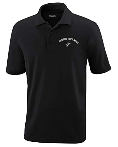 Custom Polo Performance Shirt Bull Rider Embroidery Design Polyester Golf Shirt for Men Black 2X Large Personalized Text Here