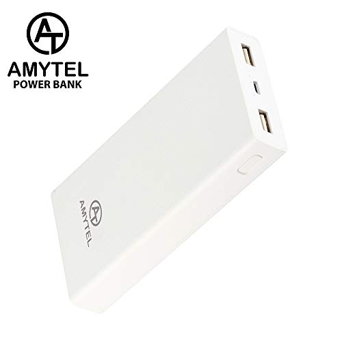 Amytel AT 20K 20000mAH 2.1Amp Fast Charging Lithium ion Power Bank  Supports Ultra Fast Charging     White