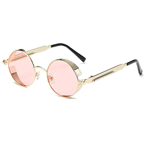 Dollger Vintage Steampunk Sunglasses for Women Men Retro Metal Round Circle Frame Sunglasses(Transparent pink Lens/gold frame)